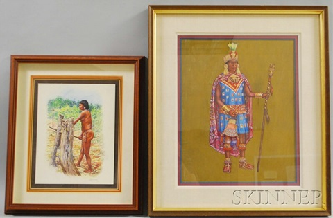 portrait of incan governor tupac yupanqui and study of a taino woman chopping yucca 2 works by hubert wackermann