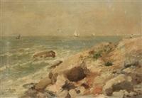 vista costera de normandía by maurice françois auguste courant