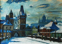 charles bridge in winter by josef vaic