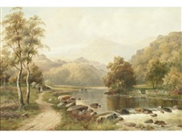 figures on a path in a mountainous landscape by william henry mander