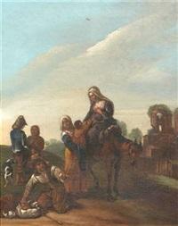 italienische strassenszene. eine familie mit einem maultier rastet im vordergrund, weiter hinten zwei männer mit hund by jan miel