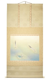 depicting two prawns and a crab in shallow clear water by setsui kawakami