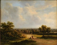 figures resting in a landscape, view to a farm, windmill, village and spires beyond by marinus adrianus koekkoek the elder