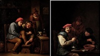 bebedores de cerveza y el callista (pair) by abraham teniers