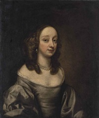 portrait of lady alice egerton (1619-1689), half-length, in a grey silk dress and pearls by john hayls