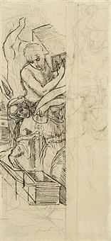 die dienerinnen der königin von arabien, münzen in holzkisten schüttend (+ figurenstudie, verso) by julius schnorr von carolsfeld