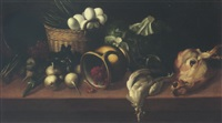 still life of eggs and asparagus in a wicker basket, together with raspberries in an upturned jug, turnips, cabbages and others, upon a table top by astolfo petrazzi