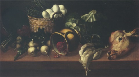 still life of eggs and asparagus in a wicker basket together with raspberries in an upturned jug turnips cabbages and others upon a table top by astolfo petrazzi