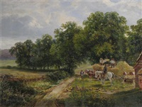 pastoral scene with rustics unloading hay by edwin young