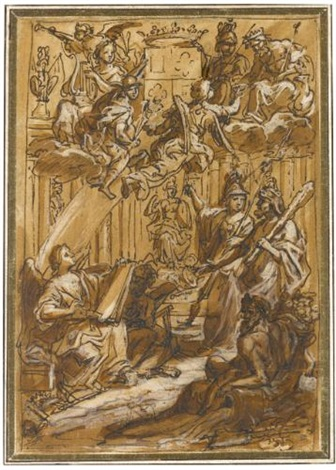 design for a frontispiece with minerva hercules and other gods and allegorical figures by charles le brun