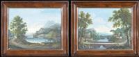 paesaggio fluviale con figure (+ paesaggio fluviale con figure; pair) by giovanni campovecchio