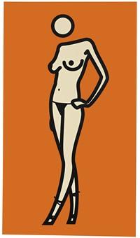 woman posing in pants. 10 by julian opie