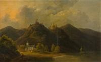 das kapuzinerkloster bornhofen mit den beiden burgen sterrenberg und liebenstein by franz joseph manskirch