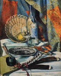 still life with quills, bottle, glass, basket, cutlery and plate by quentin bell