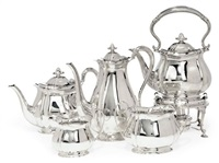 tea and coffee service (+ kettle on stand; 5 pieces) by atkin brothers