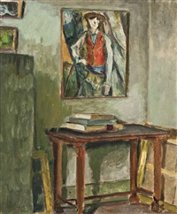 a corner of the artist's studio, paris by egisto paolo fabbri