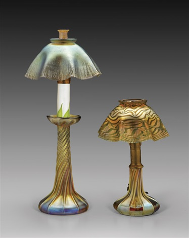 twilight candlestick lamp and lamp 2 works by louis comfort tiffany