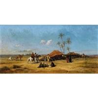 oase mit beduinen by etienne billet