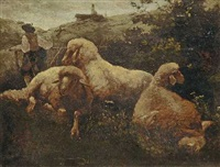 drei liegende schafe und hirte by johann baptist hofner