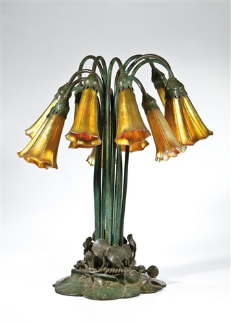 bedeutende tischlampe pond lily by louis comfort tiffany