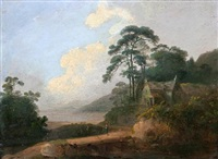 wooded coastal scene with traveler on a path before a house by john rathbone