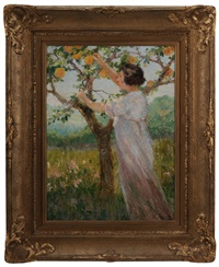woman picking peaches by dieudonne jacobs