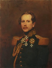 porträt eines belgischen offiziers by gustave (egidius karel g.) wappers