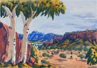 central australian landscape by oscar namatjira