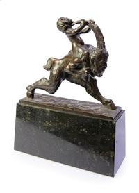 der bockbeinige jüngling reitet auf dem faun by arnold zadikow