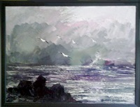 seascape with gulls by morris katz