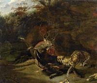 jagdstück mit leoparden einen hirschen reisend by carl borromaus andreas ruthart
