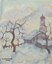 tiroler winterlandschaft mit kirche by herbert gurschner