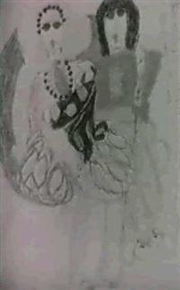 paris-soir dans le manteau de bal - recto; venise l'or sur ses genoux une guinguette a fleur d'eau - verso by aloise corbaz