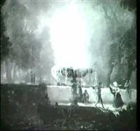 tanzendes volk im park der villa borgheses in rom. by a. honing