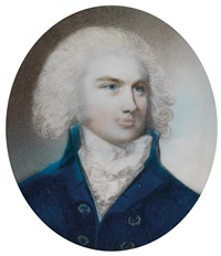 bildnis des malteserritters cajetan guislain, baron de roisin, in blauem rock mit gepudertem haar by george engleheart