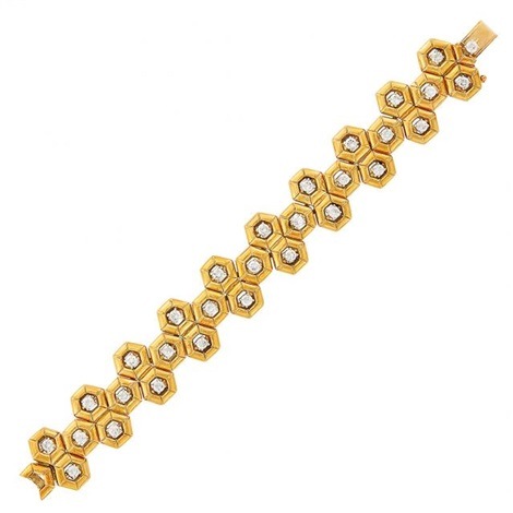 Gold and Diamond Honeycomb Link Bracelet and Pendant, Tiffany Co by