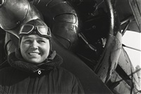 soviet union hero pilot polina osipenko and self portrait (2 works) by mark markov-grinberg