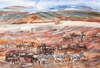zebras and wildebeest on a plain by gordon vorster