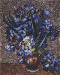 irises in a vase by oleg vasnalky