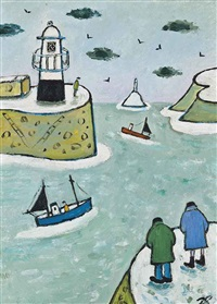 looking at the snow at st. ives by joan gillchrest