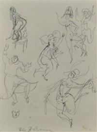skizzenblatt nonnen und mönch, nackt tanzend by bele bachem