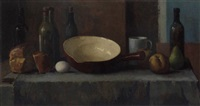 a still life with a pan, bottles, fruit and bread on a table by henrich carl macleane