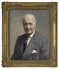 portrait of brigadier whyndham toor in a grey three-piece suit by frank samuel eastman