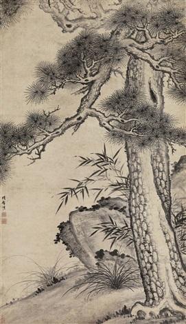 pine bamboo stone by xiang shengmo