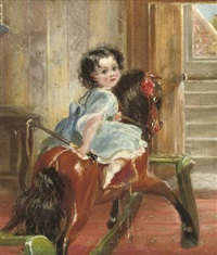 flora emma sarah ward on a rocking horse by henrietta may ada ward