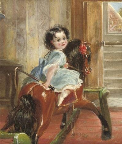 flora emma sarah ward on a rocking horse by henrietta may ada ward