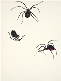 untitled - study for sculpture (+ untitled - spider drawing, watercolor; 2 works) by liz craft