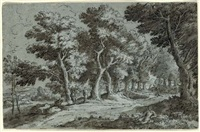 a wooded landscape with figures on a path by abraham genoels