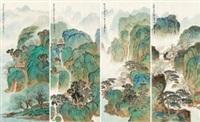 四季山水 (4 works) by xu jianming