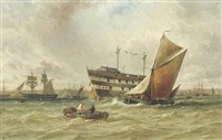 a freshening breeze on the medway with a prison hulk lying at anchor by george frederick gregory